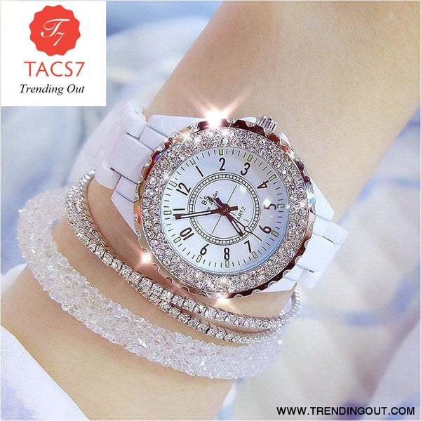 2019 BS bee sister Women Watch Luxury Wristwatch White Ceramic Fashion Ladies Quartz Watch Reloj Mujer Feminino Relogio Saati