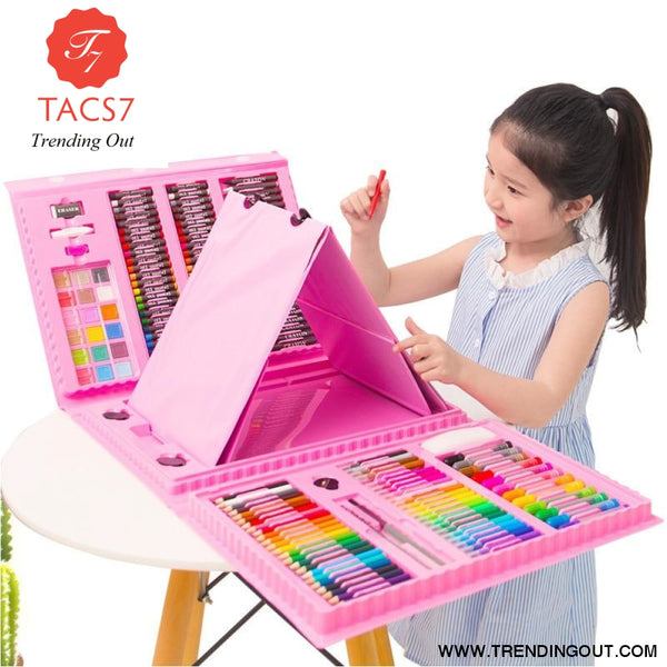 208-Piece with Easel Children's Painted Set Painting Watercolor Pen Brush Art Learning Supplies Stationery Set