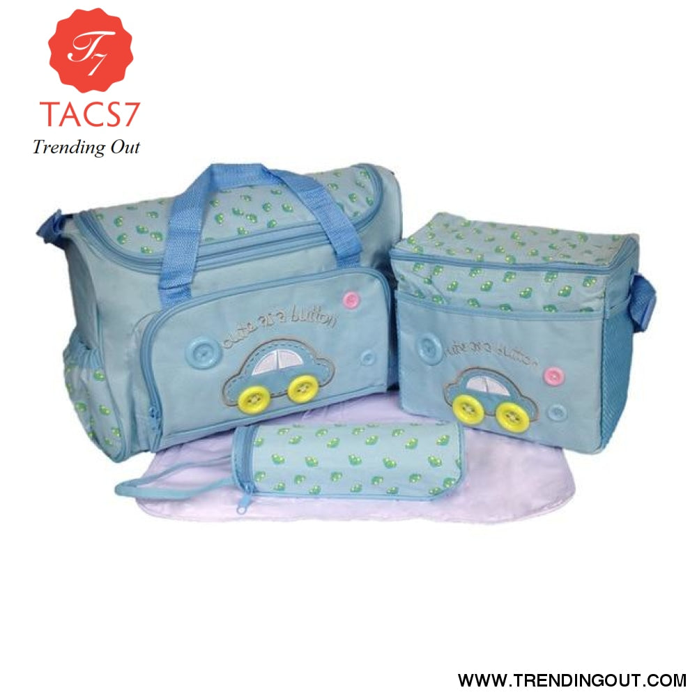 4 Pieces/Set Fashion Infant Baby Nappy Bag Mommy Maternity Bags Large Capacity Baby Bag Stroller Hobos Desinger Nursing Bag BLUE Car