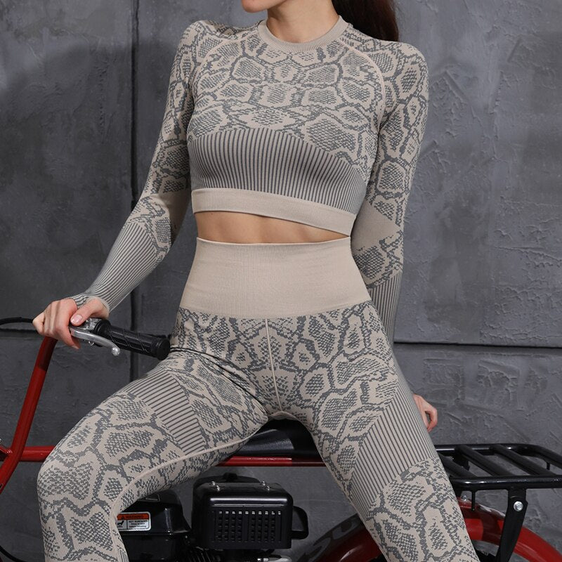 Crop Top Workout leggings Leopard Print Training Suit