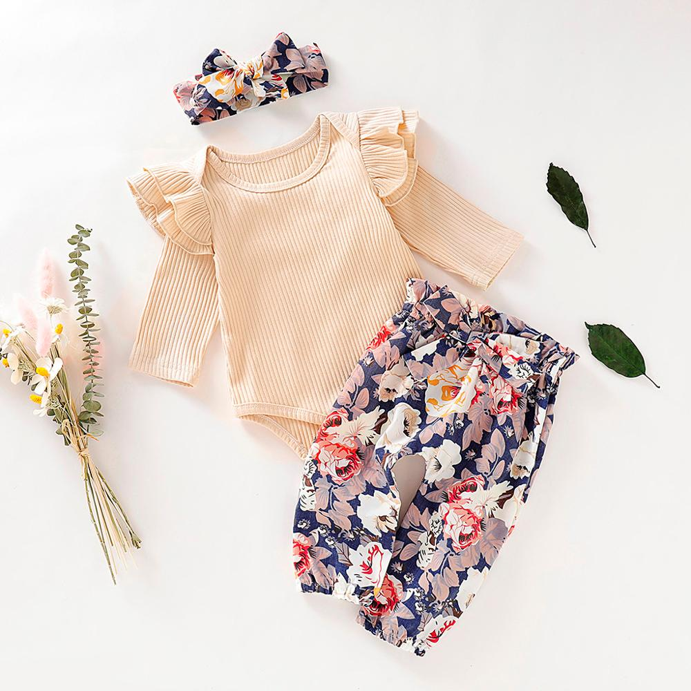 Ruffles Solid Romper+Floral Pants+Headband Outfits Toddler Girl Clothes