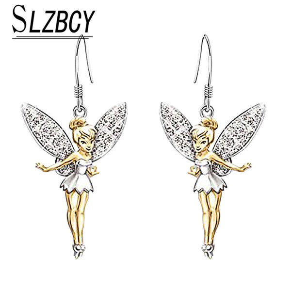 Pack of 4 - Pixies New Angel Fairy Drop Earrings Crystal Little Elf Dancer Dangle Earrings For Women Girl Fashion Jewelry Banquet Party Accessories