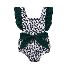 0-24M Infant Baby Girls Floral Bow Romper Jumpsuit Outfits Sunsuit Clothes Baby