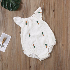 0-24M Newborn Baby Girls Bodysuit Summer Infant Sleeveless Girls Print One-piece Jumpsuit Baby Cotton Linen Soft Clothes Outfits