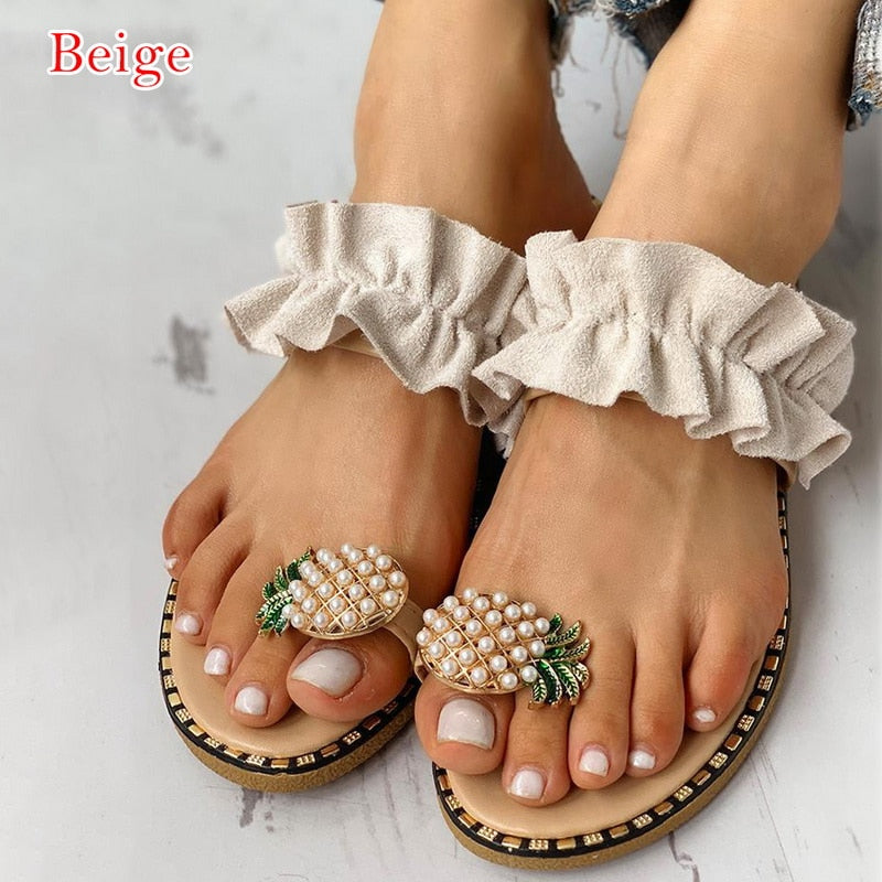 Women Slipper Pearl Flat Toe Bohemian Casual Shoes Beach Sandals Ladies Shoes Platform Sandalias De Mujer Verano