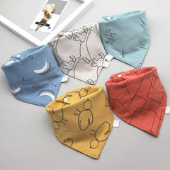 5Pcs/Set Baby Bibs Triangle Double Cotton Bandana Bibs Baby Boys Girls Babador Feeding Smock Infant Burp Cloth Baby Saliva Towel
