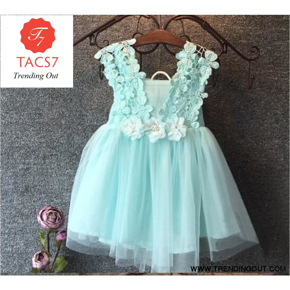 Baby Beautiful Girl Princess Party Pearl Lace Tulle Flower Gown Blue / 2T