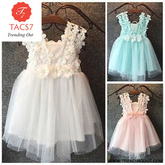 Baby Beautiful Girl Princess Party Pearl Lace Tulle Flower Gown