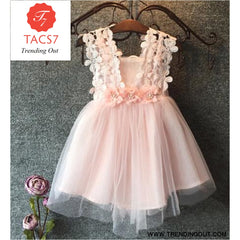 Baby Beautiful Girl Princess Party Pearl Lace Tulle Flower Gown Pink / 2T