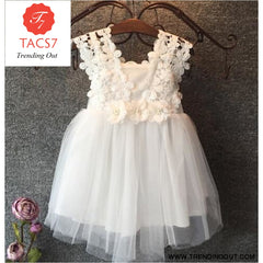 Baby Beautiful Girl Princess Party Pearl Lace Tulle Flower Gown White / 2T