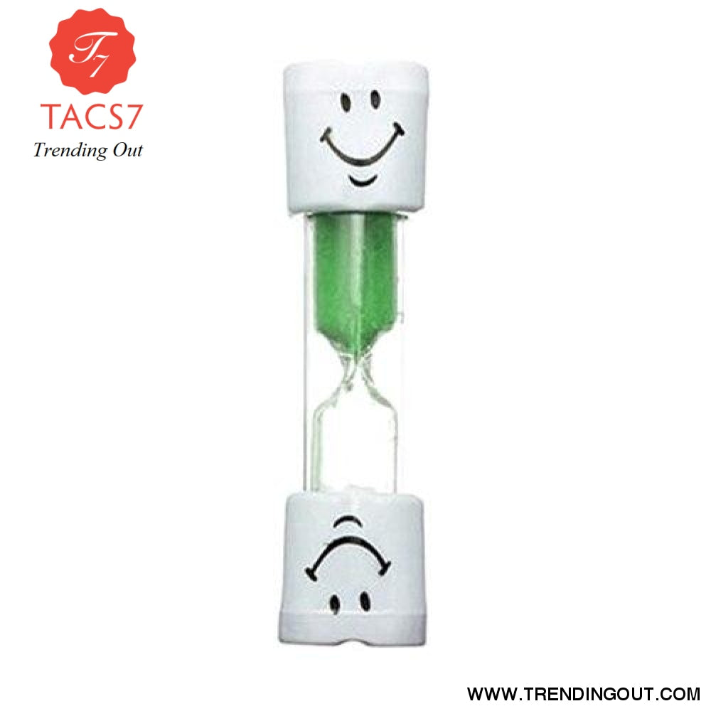Children Kids Tooth Brushing Timer 2 Minutes Smiling Face for timing cooking games exercising Sand Timer Clock Sandglass deco Green