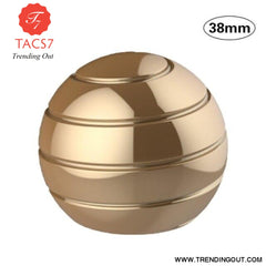 Desktop Decompression Rotating Spherical Gyroscope Kinetic Desk Toy Fidget Toy Optical Illusion Flowing Finger Toy For Children Gold 38mm