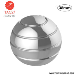 Desktop Decompression Rotating Spherical Gyroscope Kinetic Desk Toy Fidget Toy Optical Illusion Flowing Finger Toy For Children SILVER 38MM