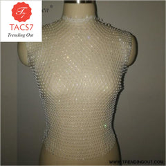 Diamonds Mesh Cropped Tank Top Women Summer Cover Up white O-neck / One Size