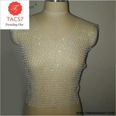 Diamonds Mesh Cropped Tank Top Women Summer Cover Up white V-neck / One Size