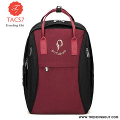 Diaper Bag Backpack Waterproof Mummy Maternity Bag Baby Care Nappy Bag Mom Curvilinear Beauty Fashion Handbag wine red black