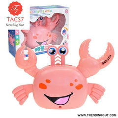 Electric Universal Crab Horizontal Standing Walking Automatic Steering Light Music Toy Light Toys Without Battery Pink