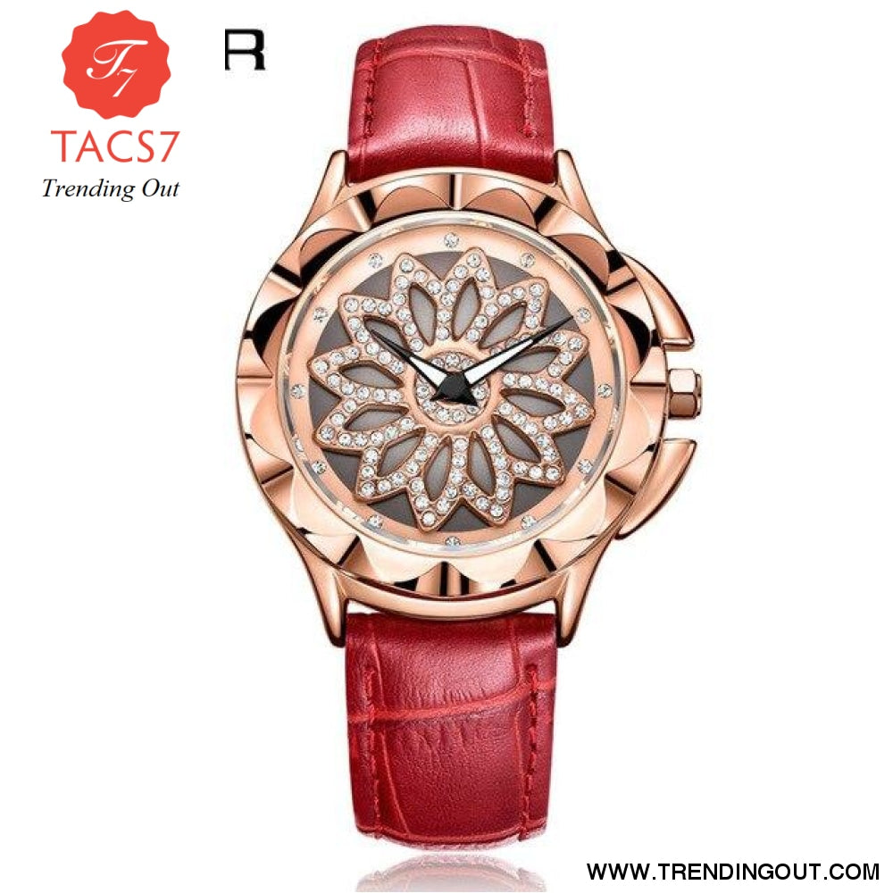 Fashion Women Watches 2019 Best Sell Rotated Dial Clock Luxury Rose Gold Womens Quartz Wrist Watches 2019 New Relogio Feminino Red