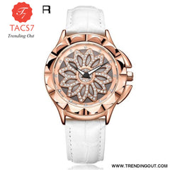 Fashion Women Watches 2019 Best Sell Rotated Dial Clock Luxury Rose Gold Womens Quartz Wrist Watches 2019 New Relogio Feminino White