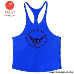 Fitness Clothing Bodybuilding Tank Top Men Gym Blue / M