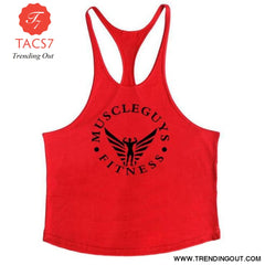 Fitness Clothing Bodybuilding Tank Top Men Gym Red / M