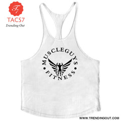Fitness Clothing Bodybuilding Tank Top Men Gym White / M