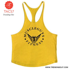 Fitness Clothing Bodybuilding Tank Top Men Gym Yellow / M