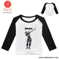 Fortnight Children Battle Royale T Shirt Girls Long Sleeve Baby Girl Tops Black / 100cm