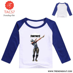 Fortnight Children Battle Royale T Shirt Girls Long Sleeve Baby Girl Tops Blue / 100cm