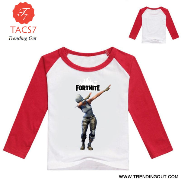 Fortnight Children Battle Royale T Shirt Girls Long Sleeve Baby Girl Tops Red / 100cm