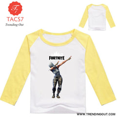 Fortnight Children Battle Royale T Shirt Girls Long Sleeve Baby Girl Tops Yellow / 100cm
