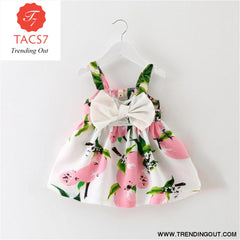Girl Dress Baby Dresses Pattern Print Lemon Cartoon Birthday Dress Female Baby Summer Clothes Kids Girl Clothes Pink / 3M