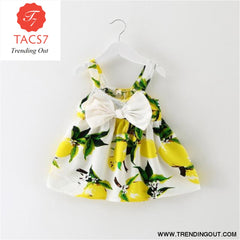 Girl Dress Baby Dresses Pattern Print Lemon Cartoon Birthday Dress Female Baby Summer Clothes Kids Girl Clothes YELLOW / 3M