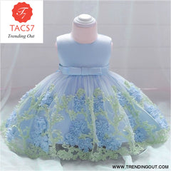 Girls Dresses baby flower lace dress female baby hundred days wedding princess dress Lining cotton baby girl clothes 70cm / Blue-b