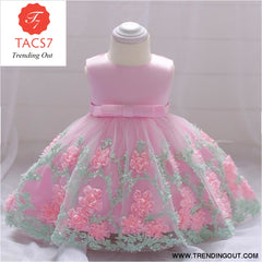 Girls Dresses baby flower lace dress female baby hundred days wedding princess dress Lining cotton baby girl clothes 70cm / Pink-d