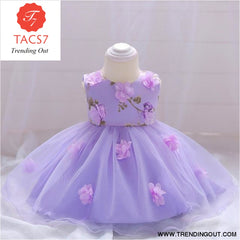 Girls Dresses baby flower lace dress female baby hundred days wedding princess dress Lining cotton baby girl clothes 70cm / Purple-a