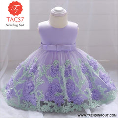 Girls Dresses baby flower lace dress female baby hundred days wedding princess dress Lining cotton baby girl clothes 70cm / Purple-b