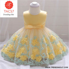 Girls Dresses baby flower lace dress female baby hundred days wedding princess dress Lining cotton baby girl clothes 70cm / Yellow