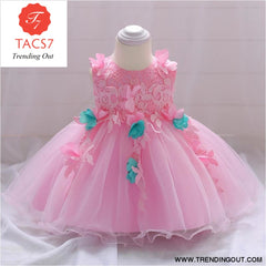 Girls Dresses baby flower lace dress female baby hundred days wedding princess dress Lining cotton baby girl clothes
