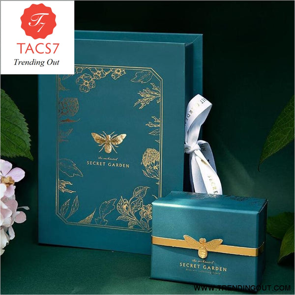 High-grade Atmosphere Pure Green Earth Bronzing Bee Leaf Design Wedding Large-scale Ceremony Silk Scarf Jewelry Gift Box Set
