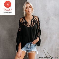 Ladies Boho Lantern Sleeve Loose Short Chiffon Blouse