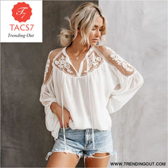 Ladies Boho Lantern Sleeve Loose Short Chiffon Blouse WHITE / S