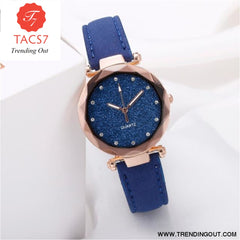 Ladies fashion Korean Rhinestone Rose Gold Quartz Watch Female Belt Watch Womens Watches Fashion Clock Watch Women Watches #A As shown-2