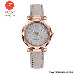 Ladies fashion Korean Rhinestone Rose Gold Quartz Watch Female Belt Watch Womens Watches Fashion Clock Watch Women Watches #A As shown-5