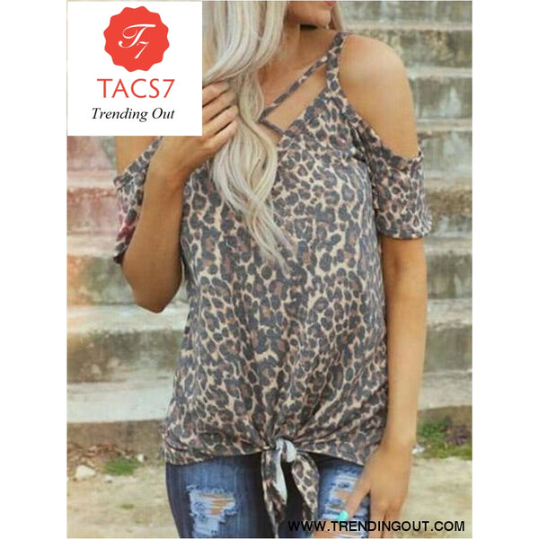 Leopard Printed Cold Shoulder Tees