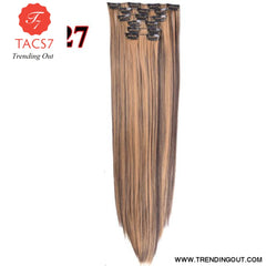 Long Straight Synthetic Hair Extensions Color 12 / 22inches