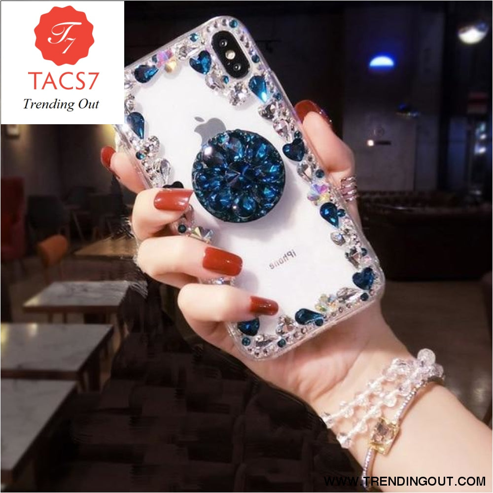 Love Pink Diamond 3D Bracket Transparent Phone Case Blue / for iphone 6 6s