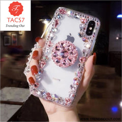 Love Pink Diamond 3D Bracket Transparent Phone Case Pink / for iphone 6 6s