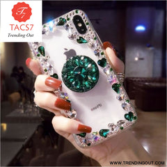 Love Pink Diamond 3D Bracket Transparent Phone Case Green / for iphone 6 6s