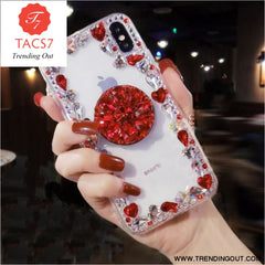 Love Pink Diamond 3D Bracket Transparent Phone Case Red / for iphone 6 6s